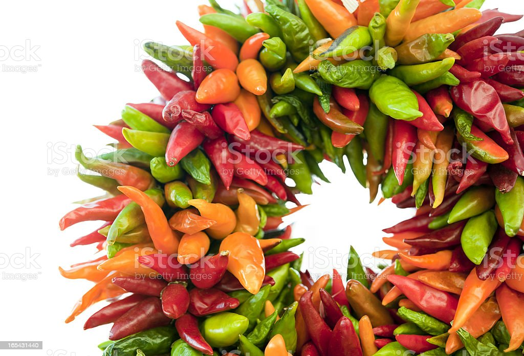 Pepper wreath isolated in white royalty-free stock photo