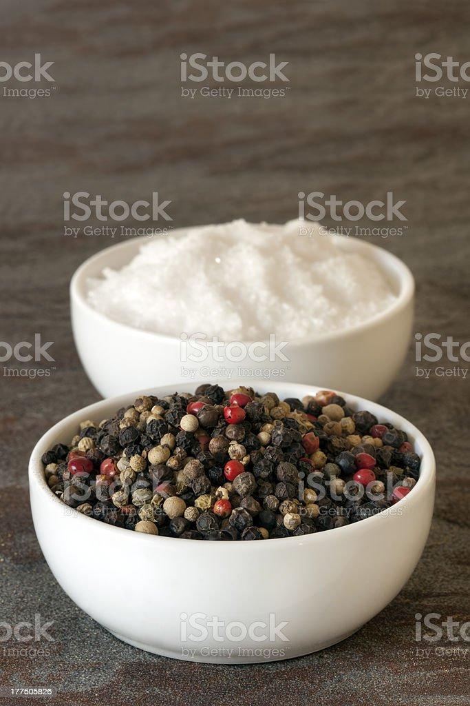 Peppercorns and Sea Salt stock photo