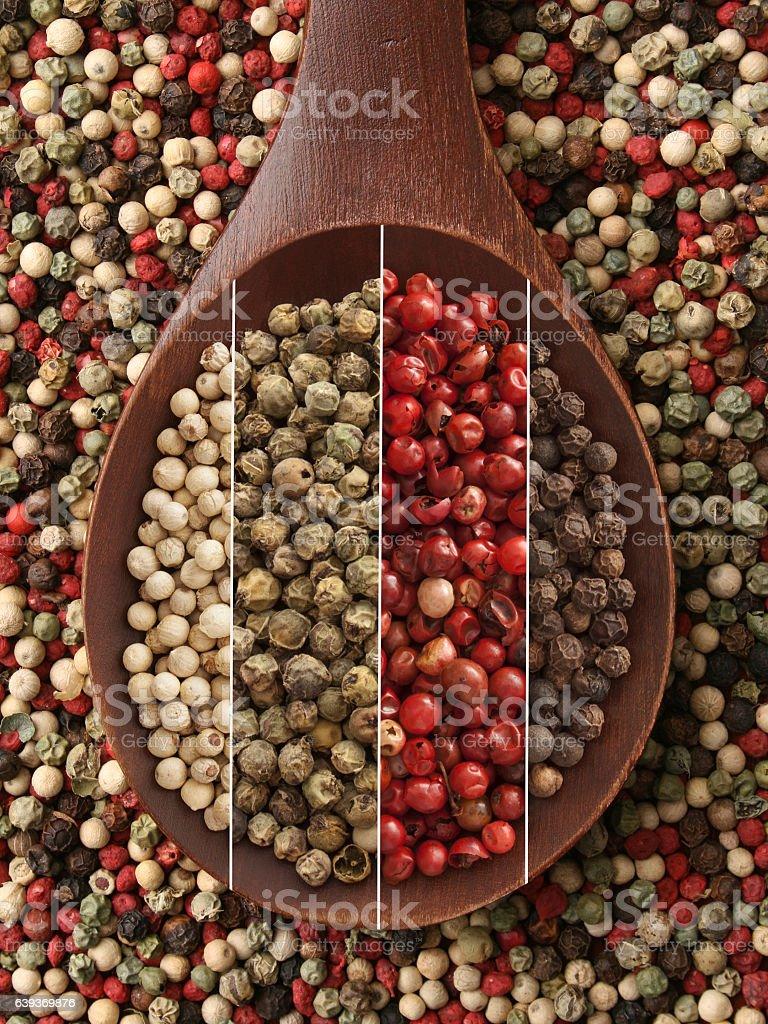 Peppercorns composition stock photo