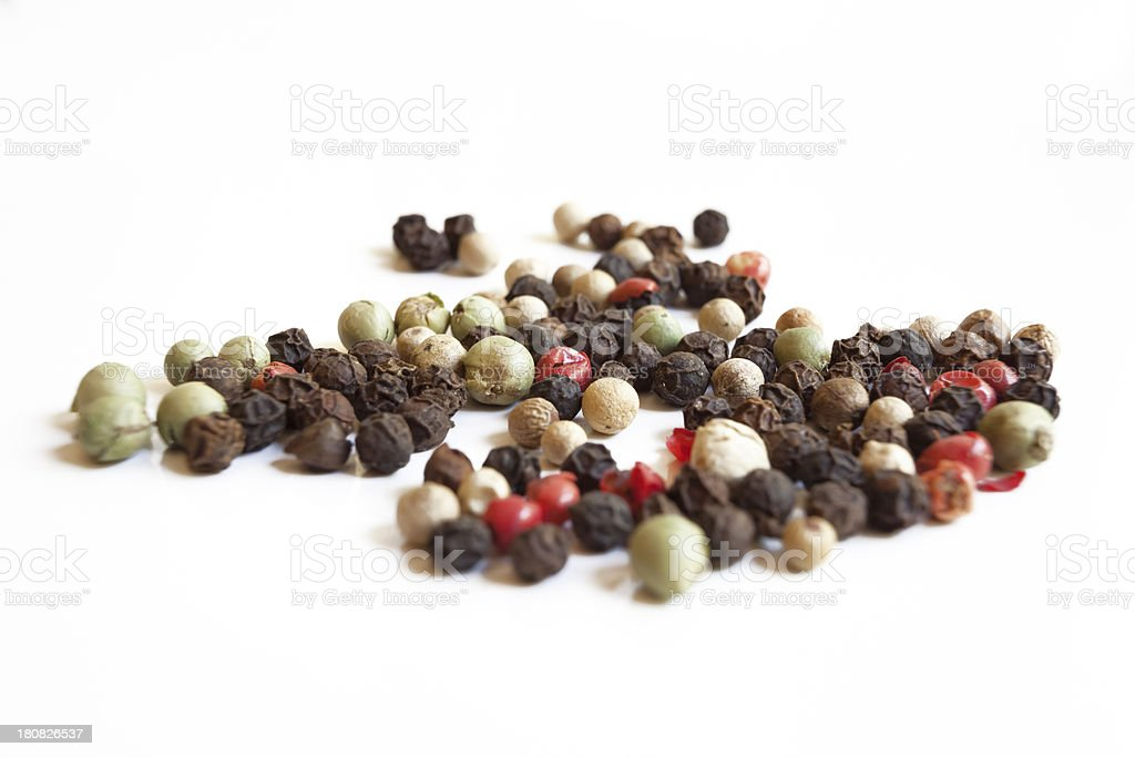 Peppercorns On White Background royalty-free stock photo