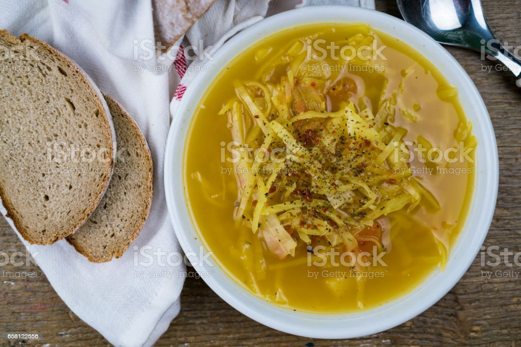 Peppered cabbage soup stock photo