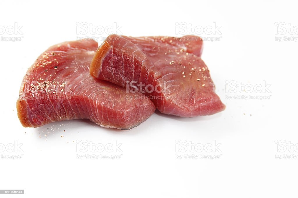 Peppered tuna steaks stock photo