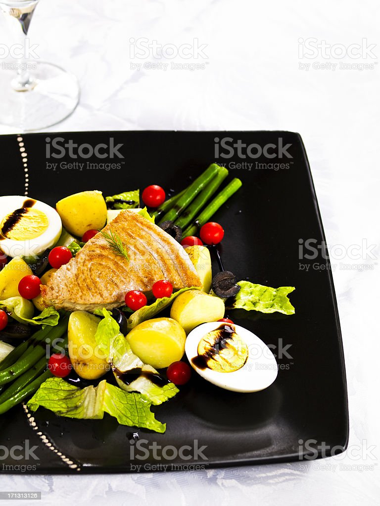Peppered tuna with Nicoise salad royalty-free stock photo
