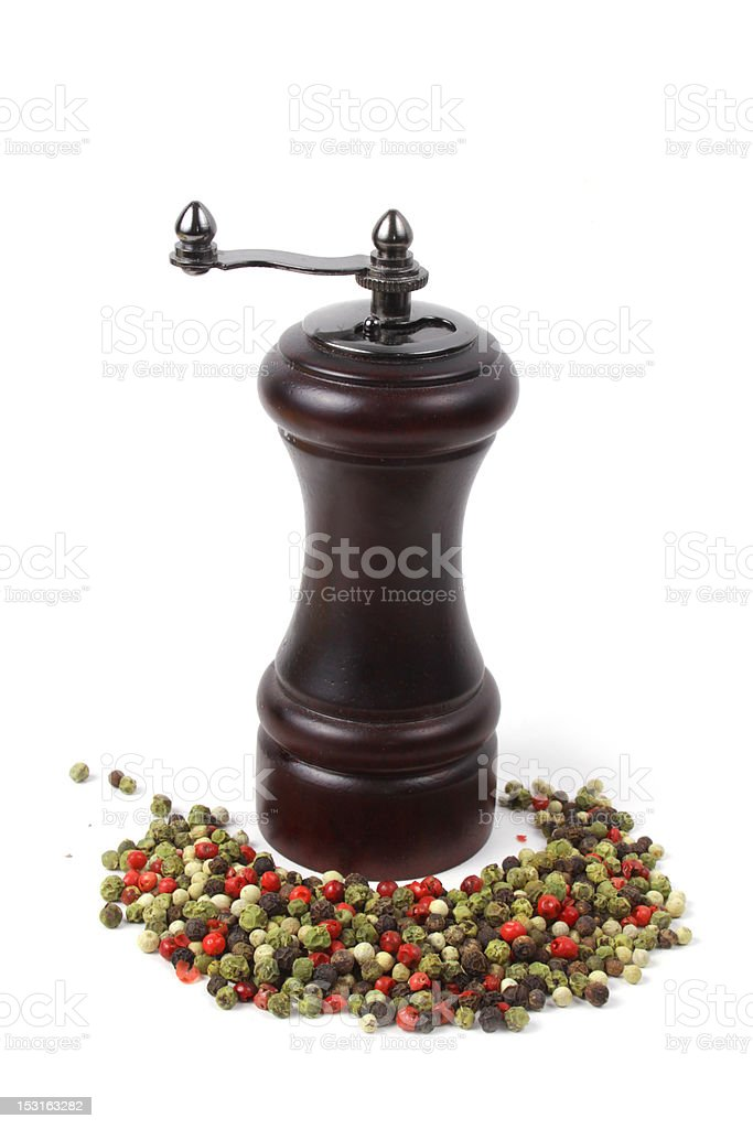 peppermill and peppercorns stock photo