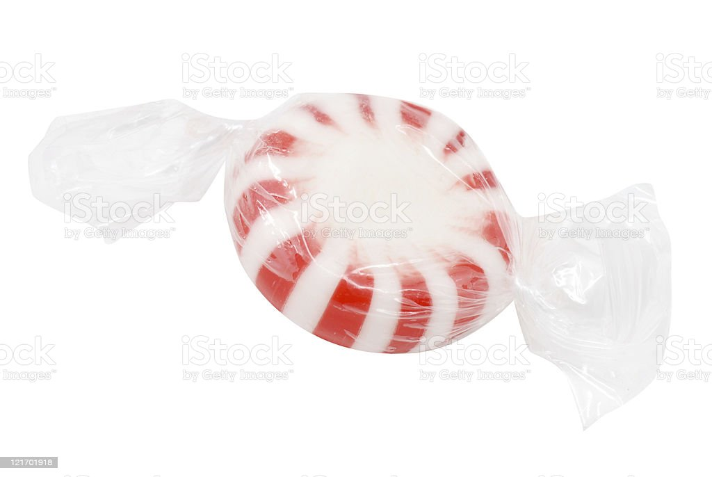 Peppermint Candy in Plastic Wrapper Isolated | Hard Candies stock photo