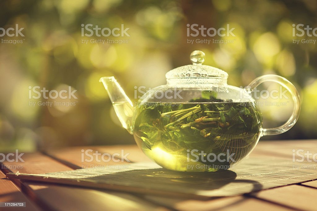 peppermint herbal tea stock photo