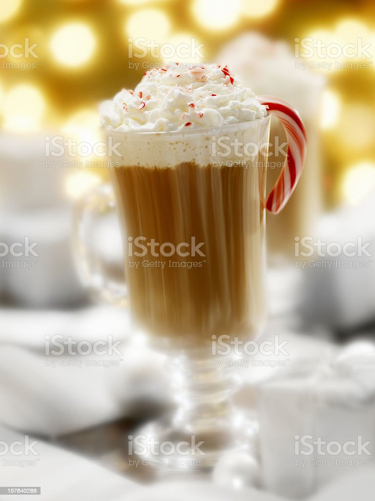 Peppermint Hot Chocolate at Christmas Time royalty-free stock photo