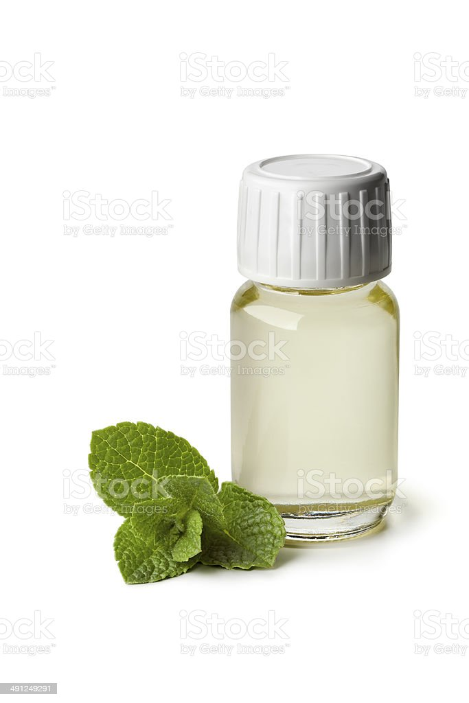 Peppermint oil in a bottle stock photo