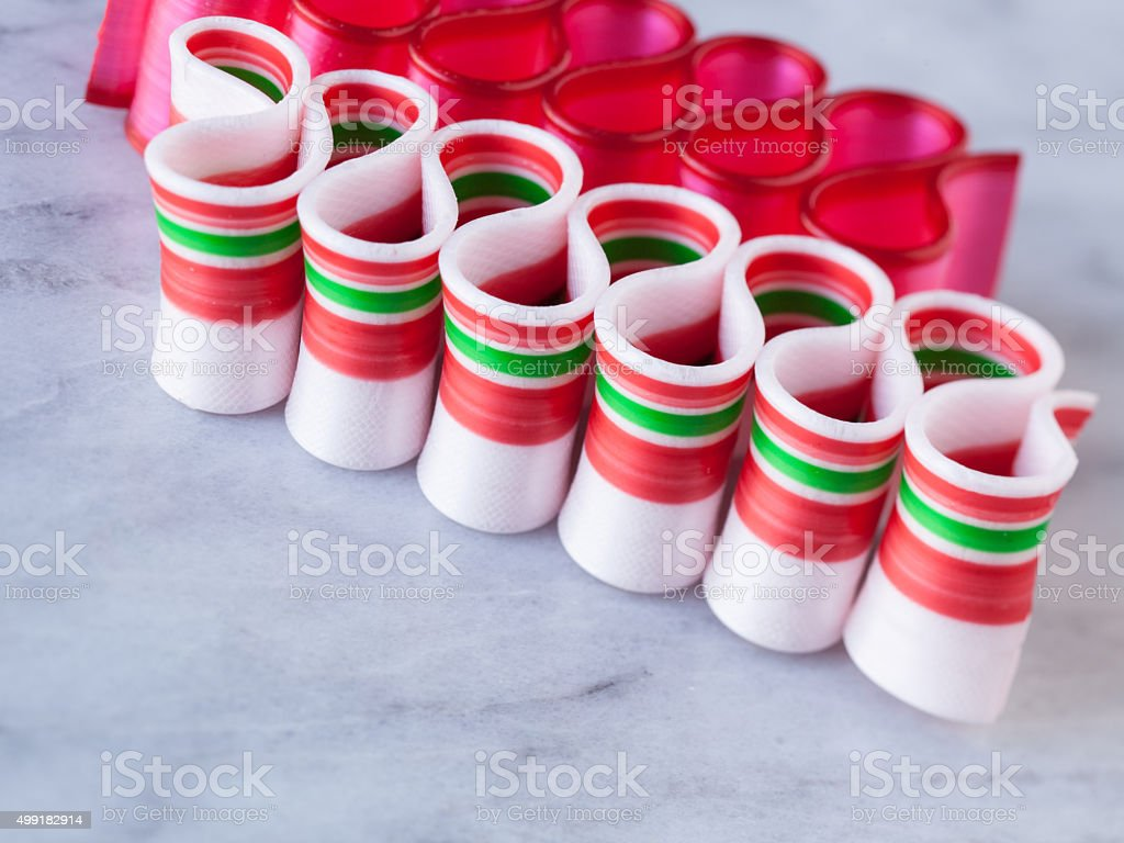 Peppermint ribbon candy holiday treat with copyspace stock photo