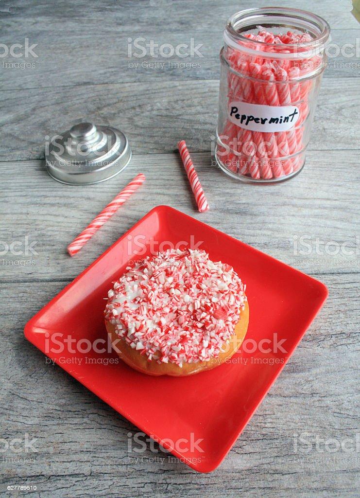 peppermint stick doughnut stock photo