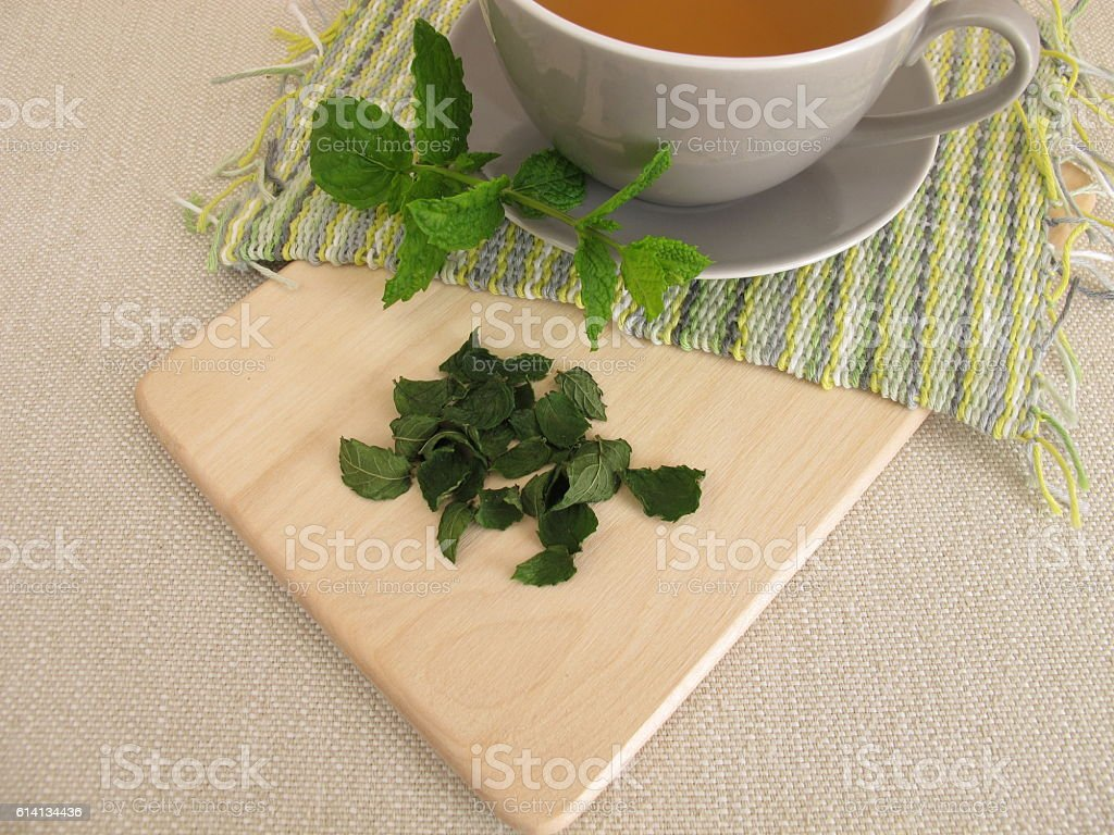 Peppermint tea and fresh and dried peppermint leaves stock photo