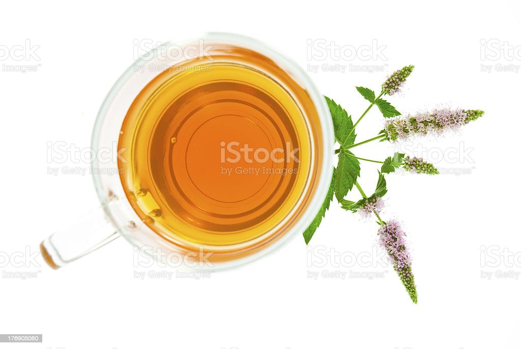 Peppermint tea, top view royalty-free stock photo