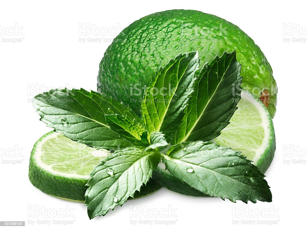 Peppermint with limes stock photo