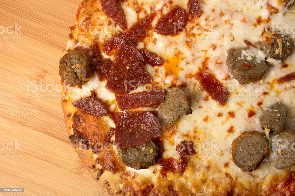 Pepperoni and Sausage Pizza stock photo