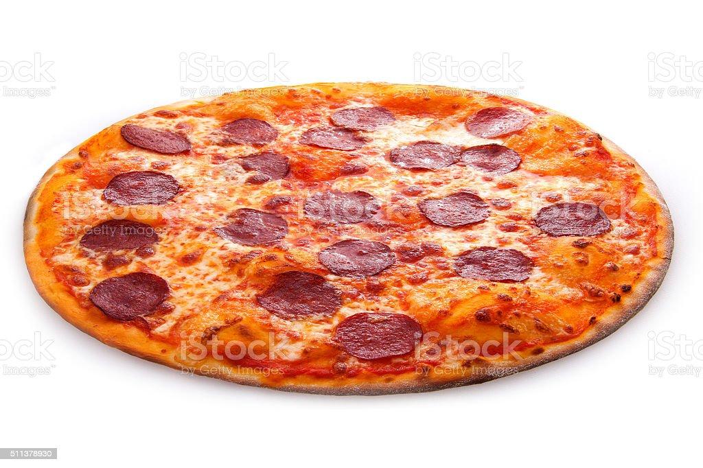 pepperoni pizza basil stock photo