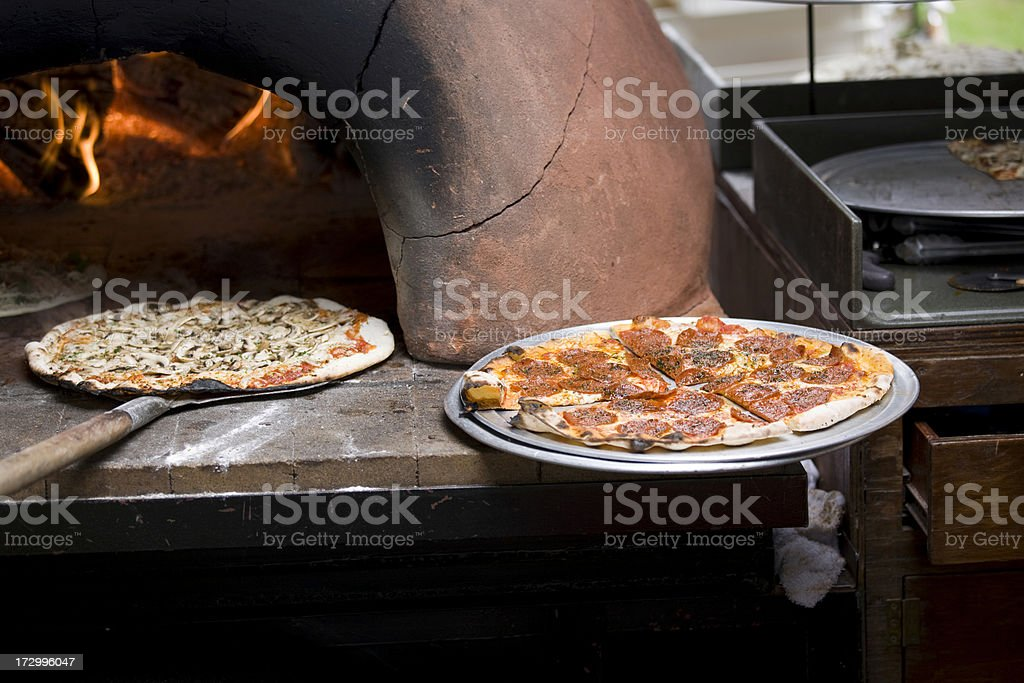 Pepperoni Pizza fresh and stone oven baked royalty-free stock photo