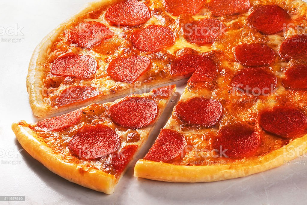 pepperoni pizza in still life close-up stock photo