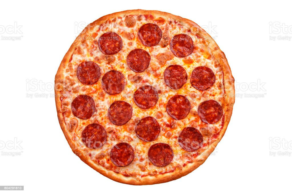 Pepperoni pizza. Italian pizza on white background. stock photo