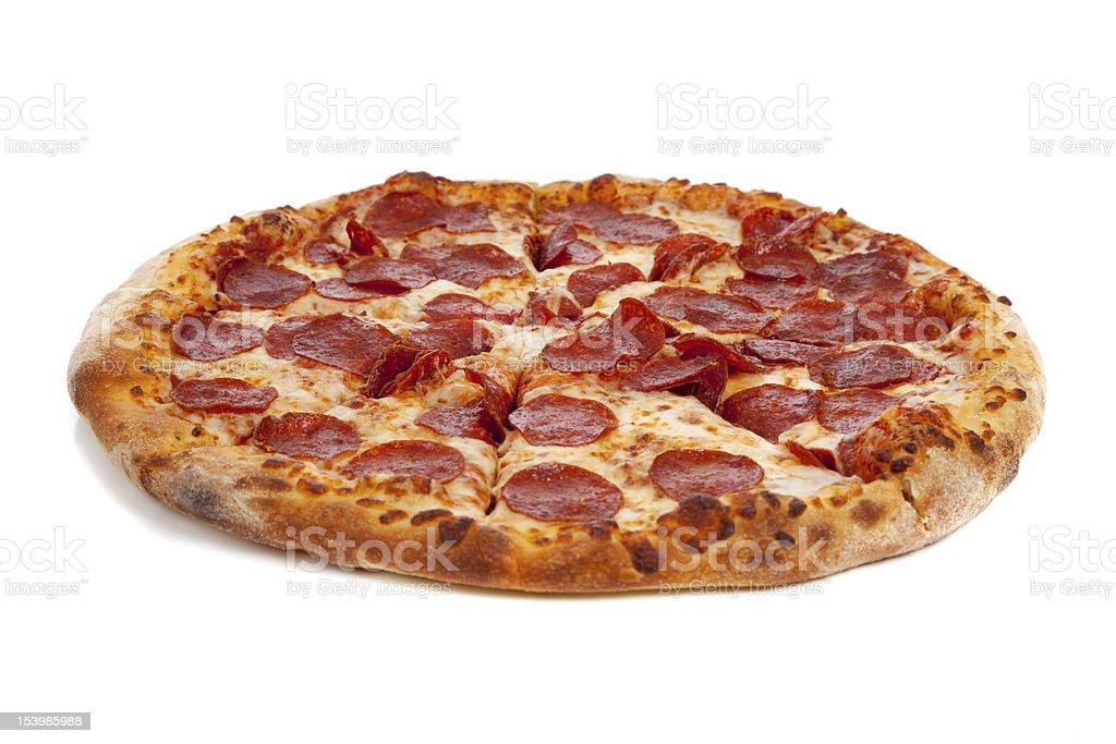 Pepperoni pizza on white royalty-free stock photo
