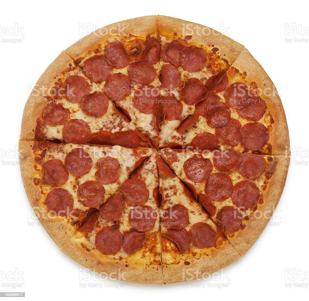 Pepperoni Pizza on White stock photo