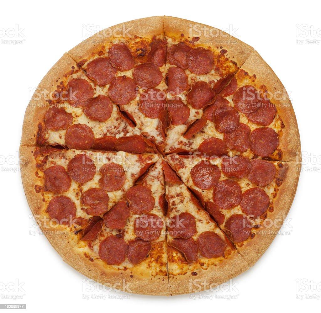 Pepperoni Pizza on White stock photo