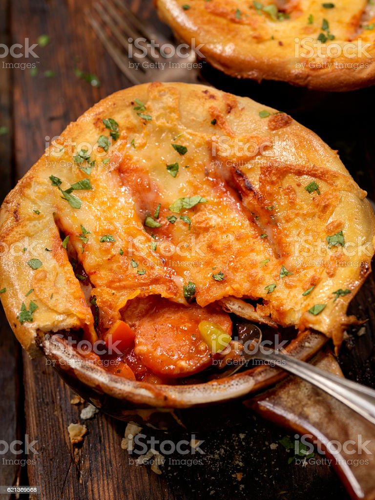 Pepperoni Pizza Pot Pie stock photo