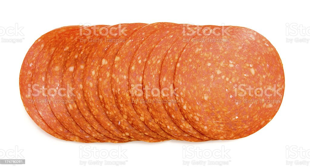 Pepperoni slices royalty-free stock photo