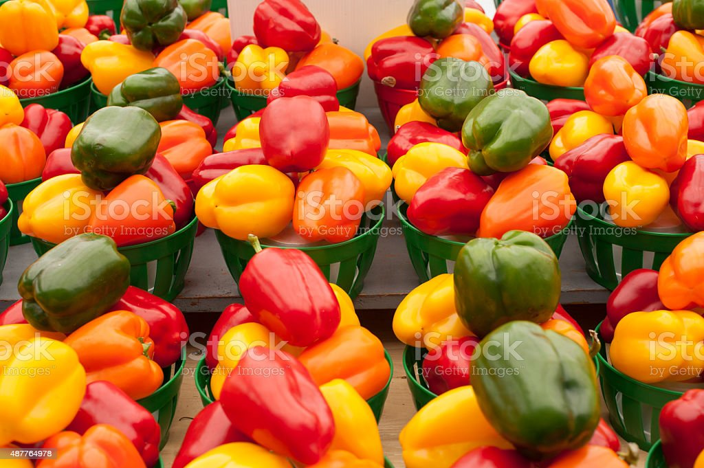 Peppers baskets stock photo