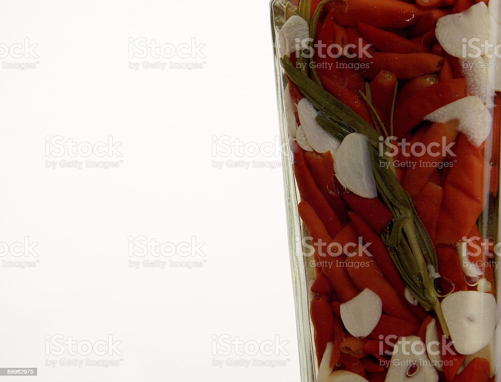 peppers garlic and rosemary accent stock photo