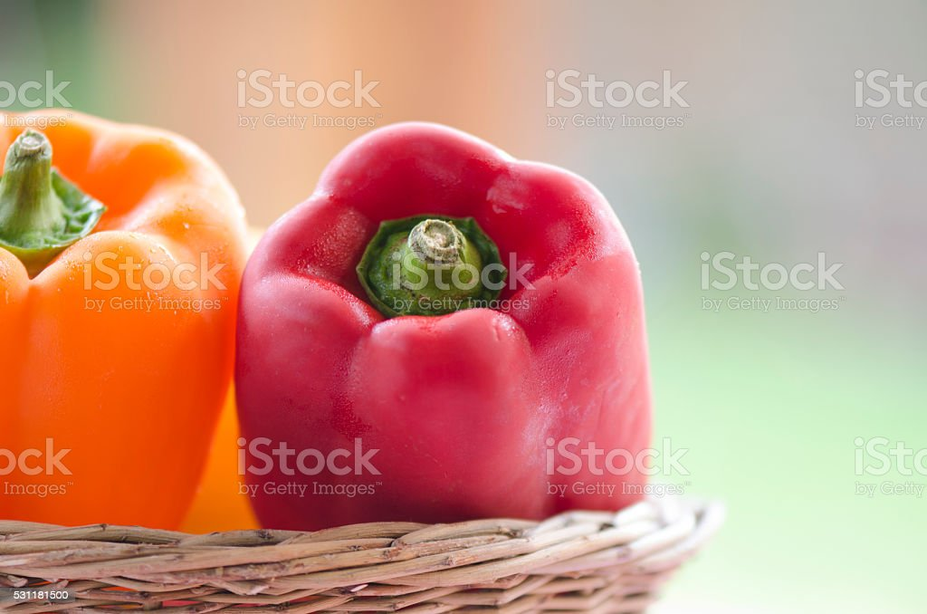 Peppers in a Basket stock photo