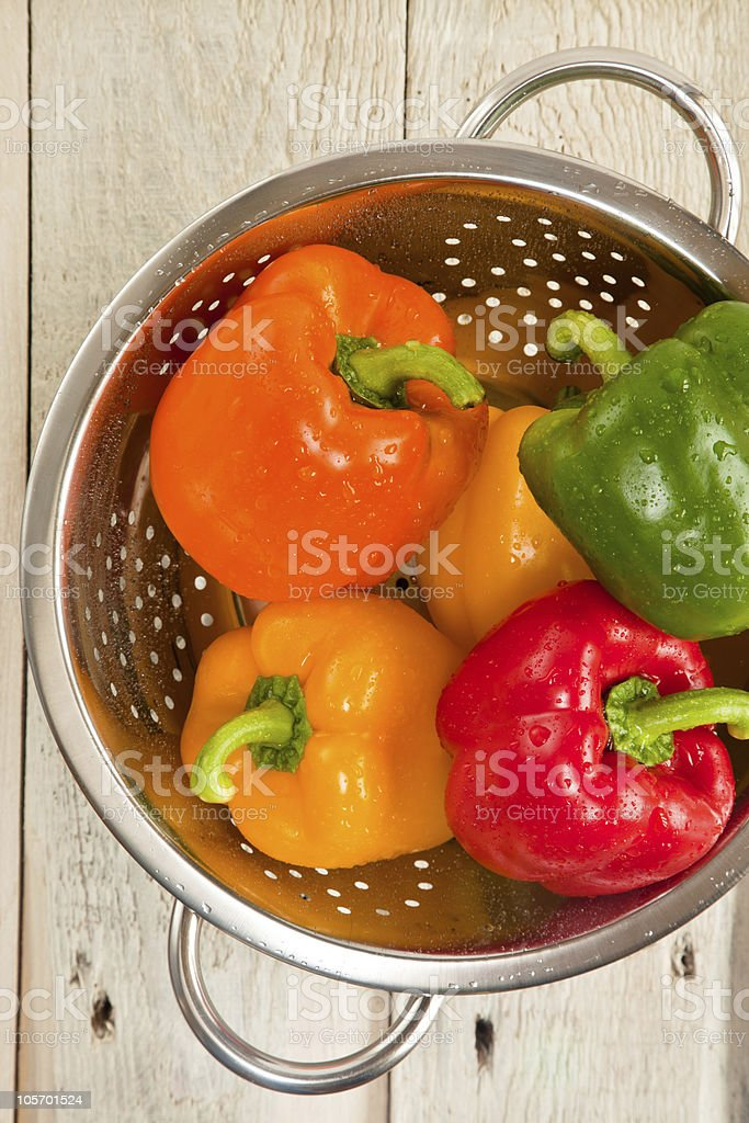 Peppers in a colander royalty-free stock photo