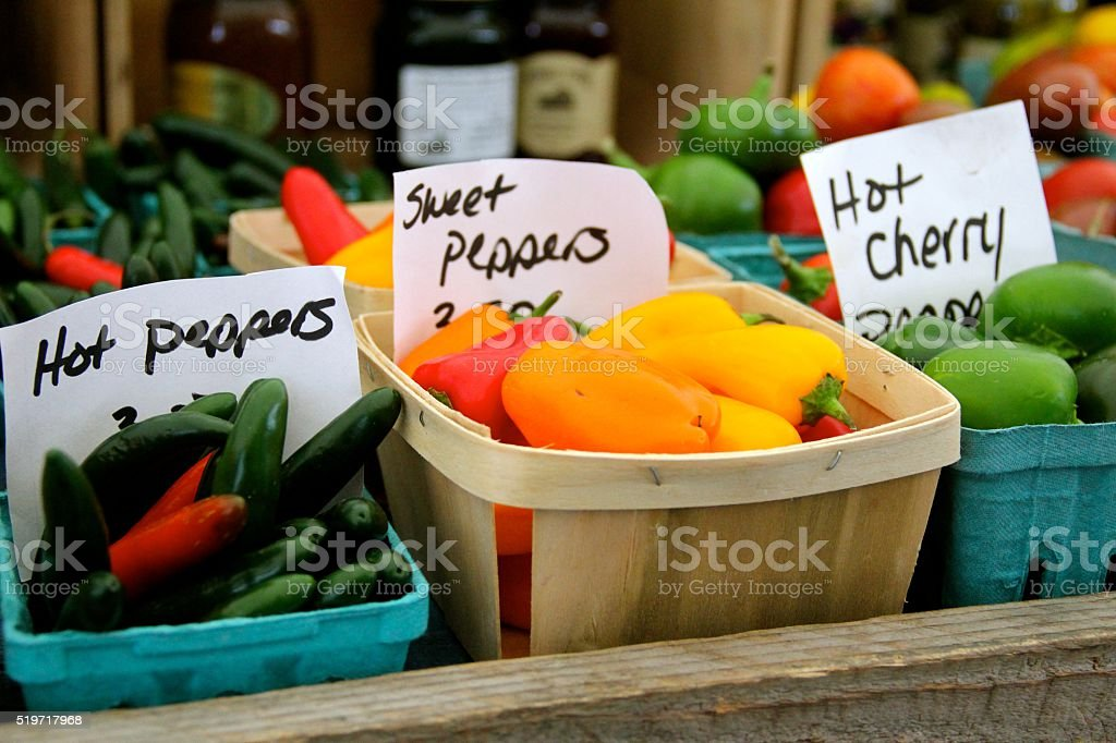 Peppers In Baskets stock photo