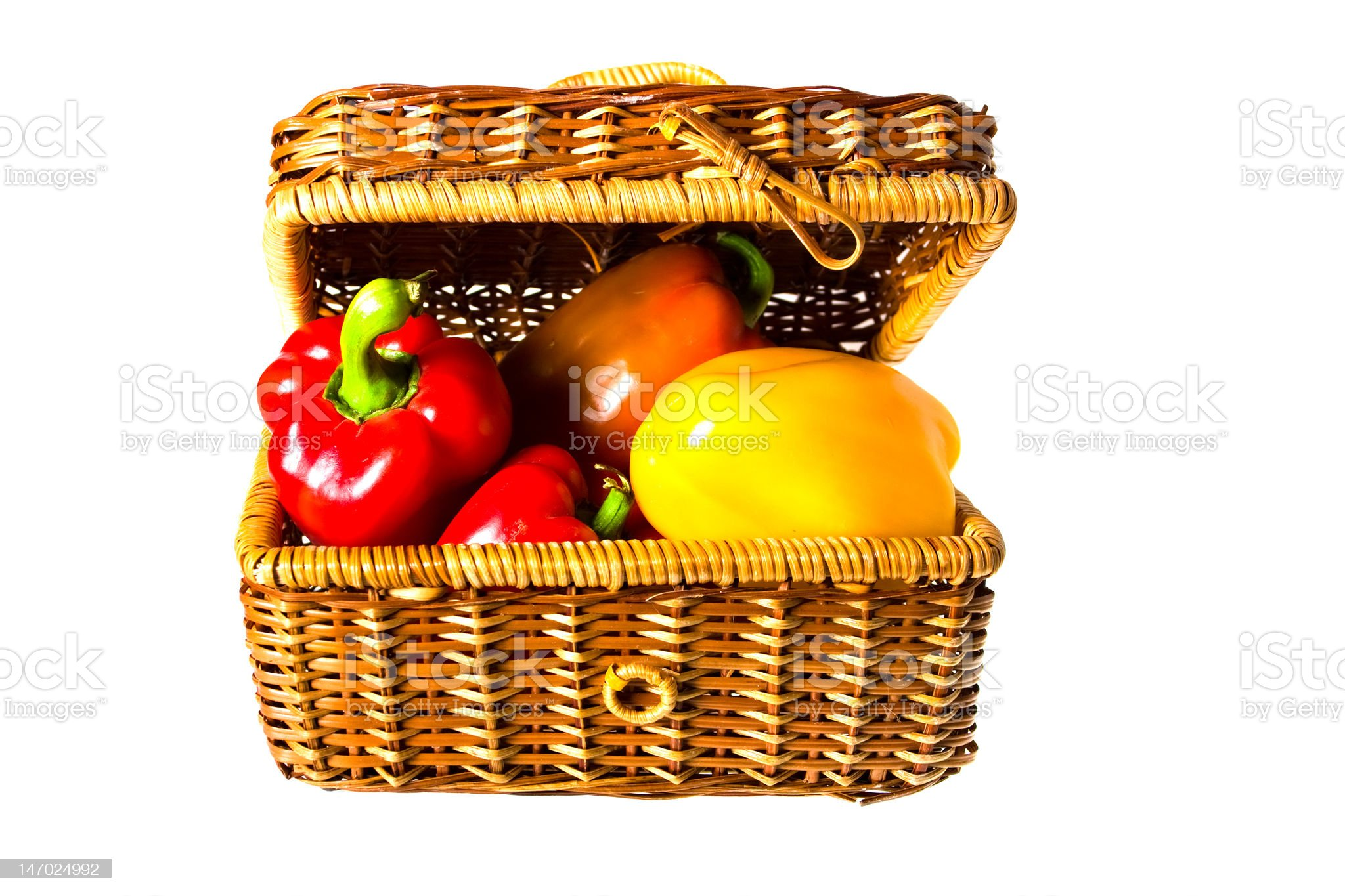 peppers in wicker basket royalty-free stock photo