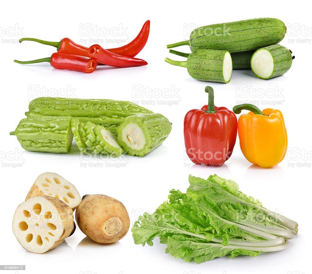 peppers, lettuce, Sponge Gourd, Momordica, Lotus root on white b stock photo