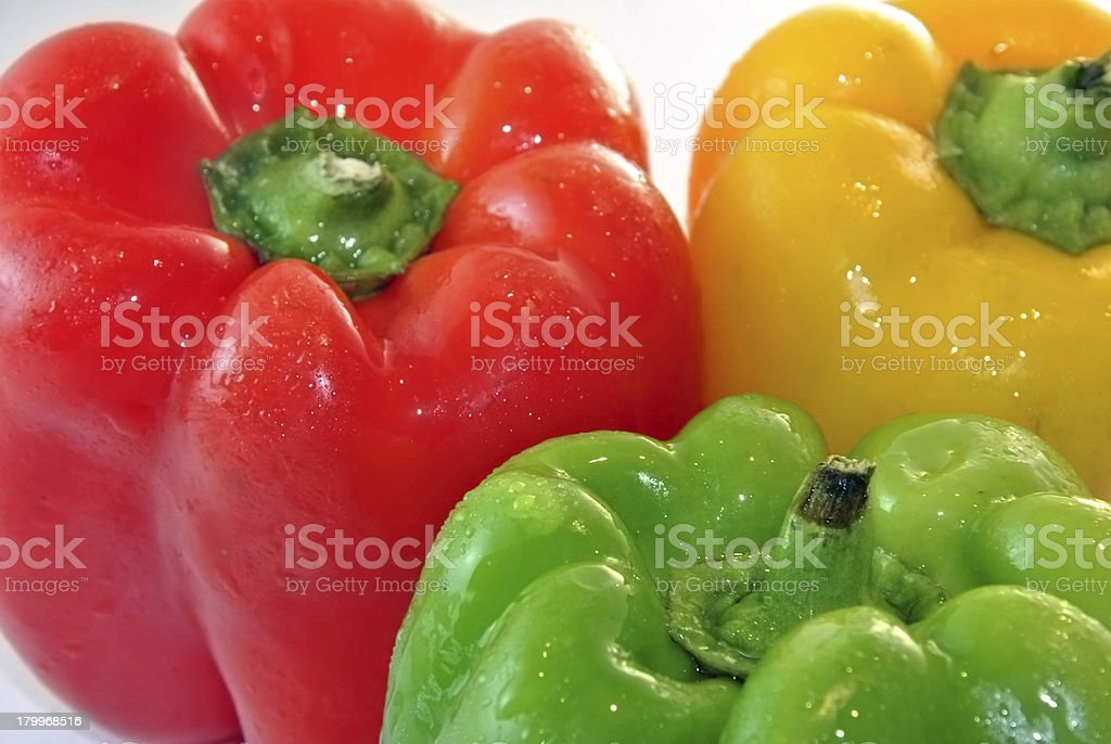 peppers of three colors royalty-free stock photo