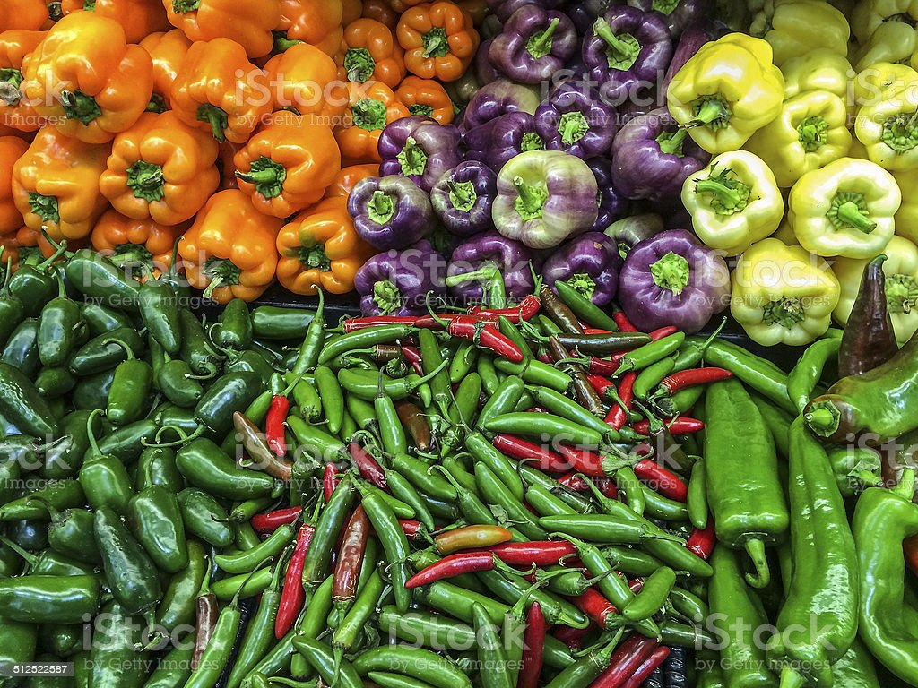 Peppers on Display stock photo