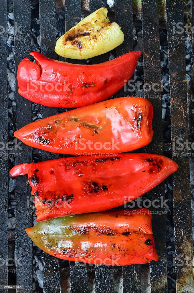 Peppers on grill stock photo