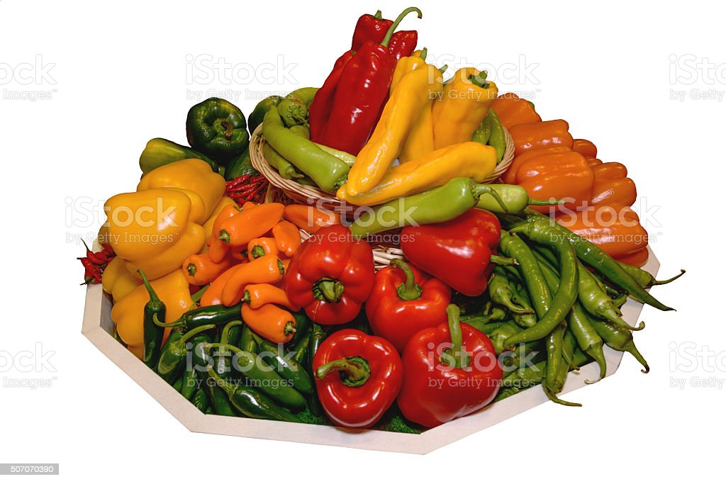 Peppers, paprika of different varieties. Concept of healthy eating. Isolated stock photo