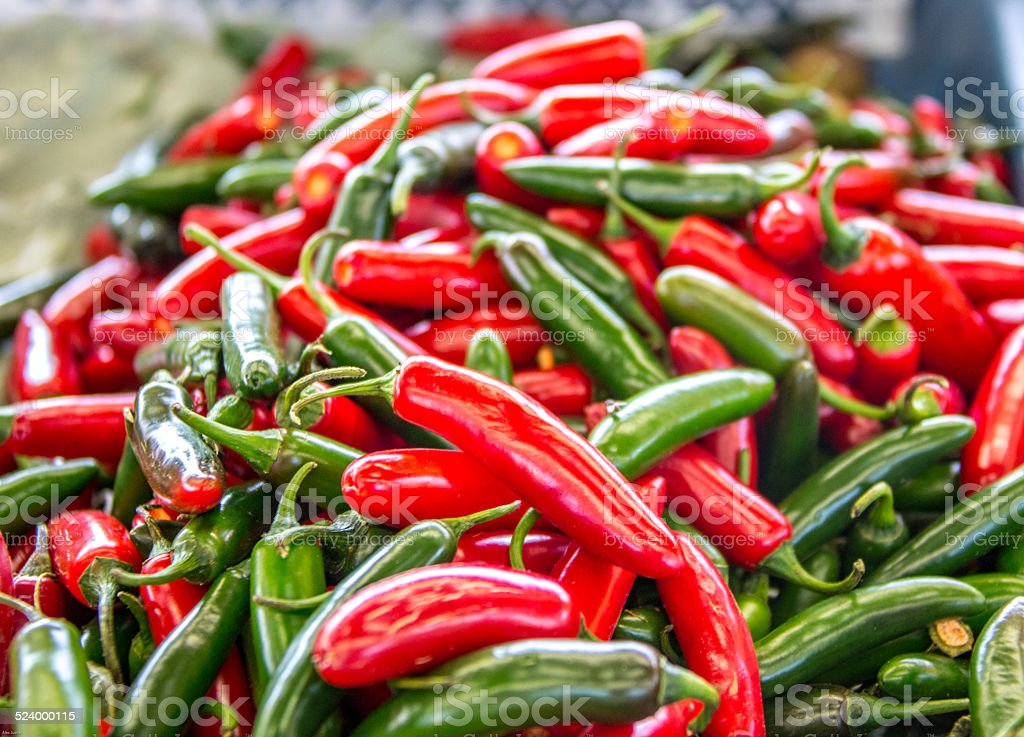 Peppers Red and Green stock photo
