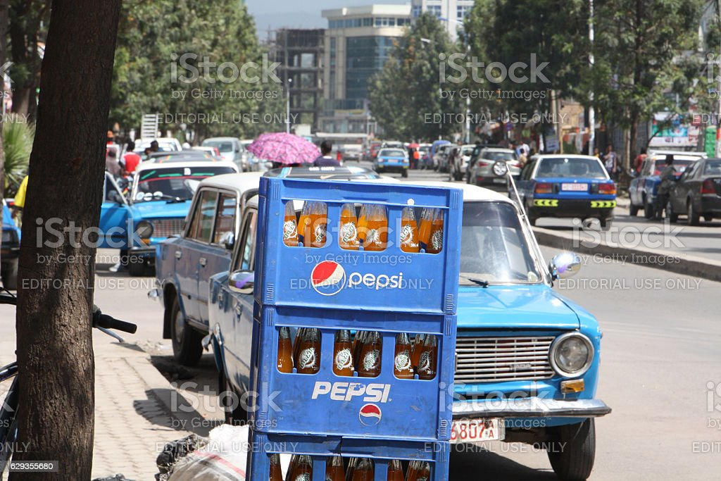 Pepsi boxes in Addis Ababa stock photo