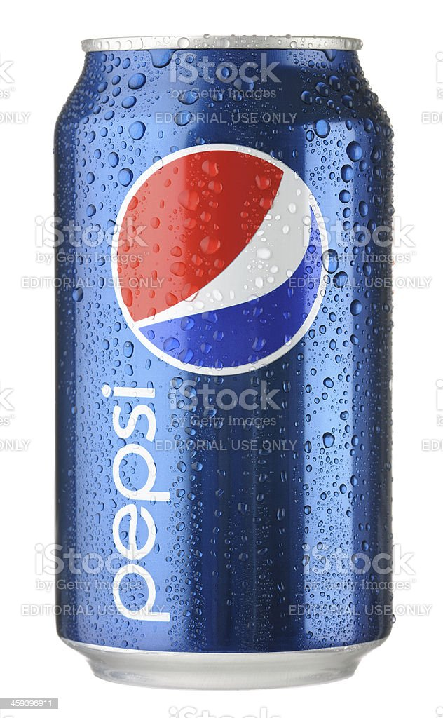 Pepsi Can with Water Droplets stock photo