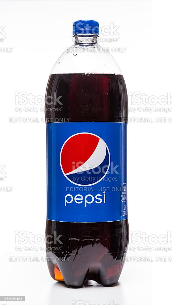 Pepsi carbonated soft drink bottle stock photo