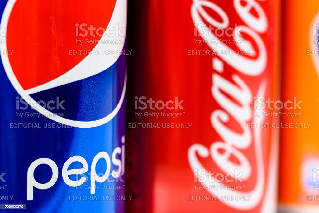 Pepsi, Coca Cola And Fanta Soda Drinks stock photo