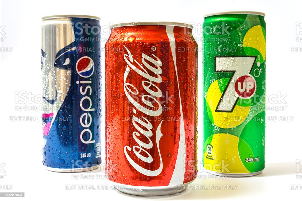 Pepsi ,Coca-Cola and 7 UP can stock photo