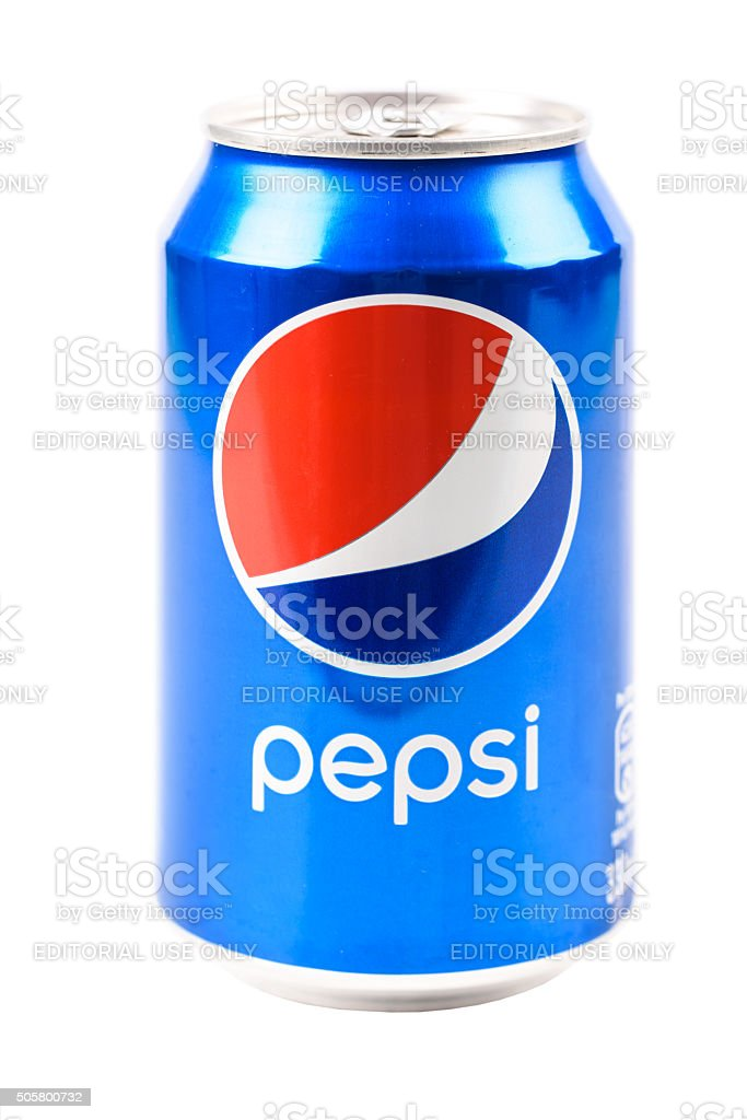 Pepsi Cola Can On White stock photo