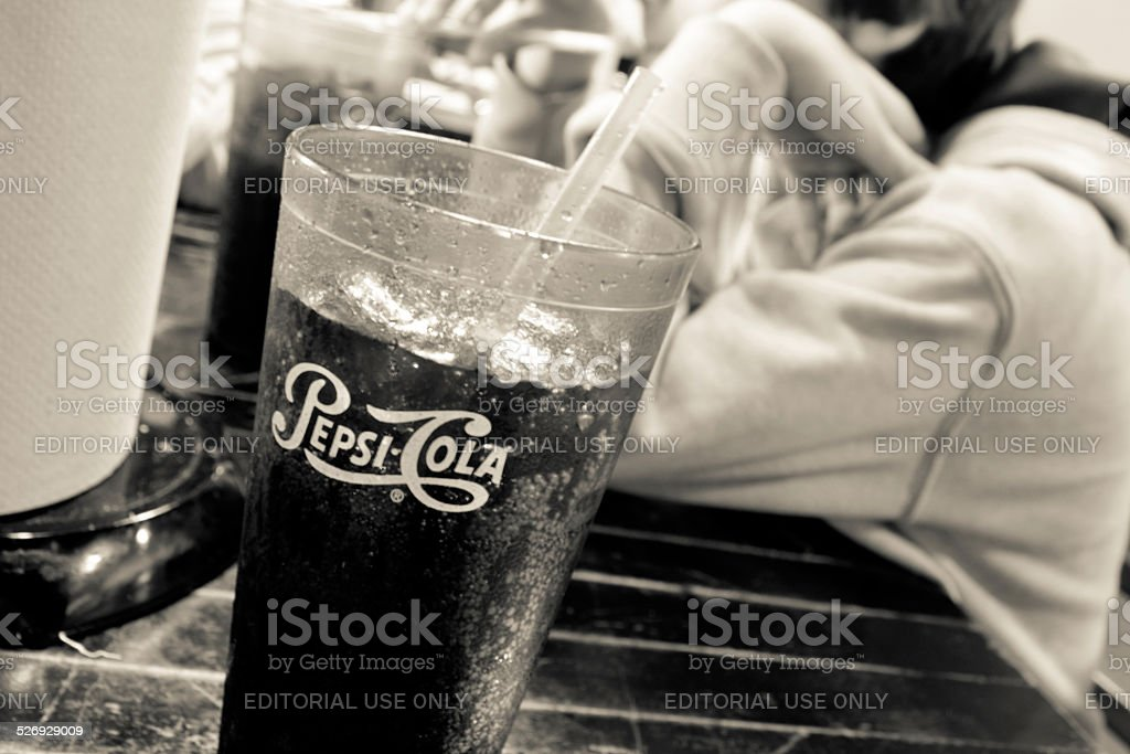 Pepsi Cola Glass stock photo