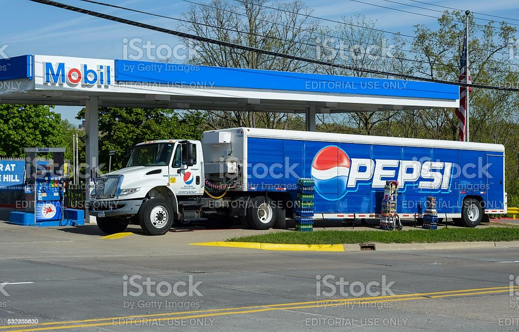 Pepsi Cola Truck Making Deliveries in Rochester, Michigan stock photo