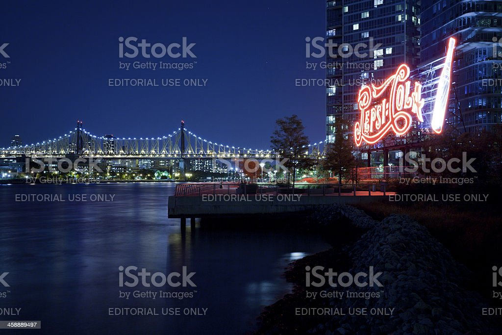 Pepsi-Cola Sign at Gantry Plaza State Park royalty-free stock photo