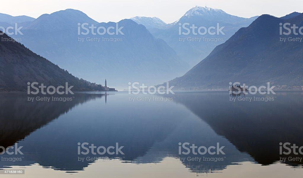 Perast and Bay of Kotor, Montenegro stock photo