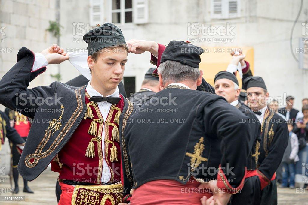 Perast, Montenegro, Dance with hankerchief. stock photo